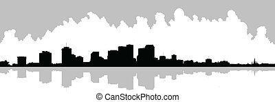 New Orleans Waterfront Skyline - Skyline silhouette of the...