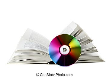 digital informations - open book with near compact disk, on...