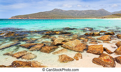Wineglass Bay Tasmania - The Beach at Wineglass Bay,...
