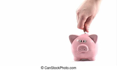 Saving Money - Stock Video Footage - Piggy Bank- savings -...