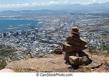 Rock Stack - Stack of rocks with in the background Cape Town...