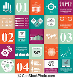 Square Infographic elements - Set of infographic elements,...