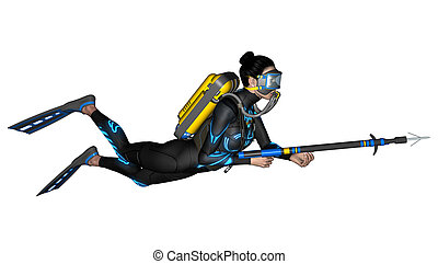 Female Diver with Spear Gun - 3D digital render of a female...