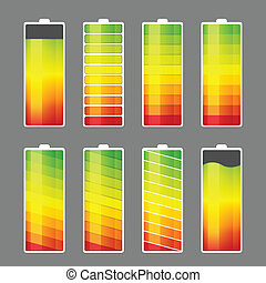 Battery Energy Meter Icon - Vector illustration of battery...