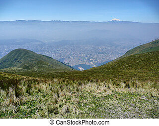Quito - Panorama overlooking Quito, capital of Ecuador in...