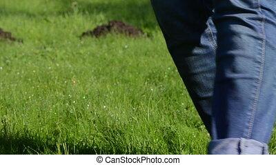 wet foot grass