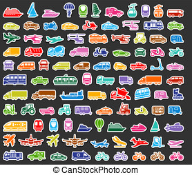 Transport icons set colored stickers - 104 Transport icons...