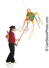 Breaking the Pinata - A blindfolded girl hitting a colorful...