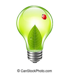 Eco Bulb With Ladybug, With Gradient Mesh, Vector...