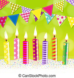 Candles Bunting Garland, With Gradient Mesh, Vector...