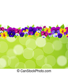 Spring Flowers Border, With Gradient Mesh, Vector...