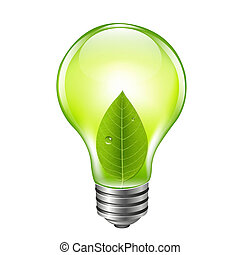 Eco Green Bulb, With Gradient Mesh, Vector Illustration
