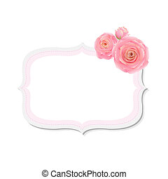 Pastel Pink Rose Label, With Gradient Mesh, Vector...