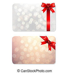 Bows And Blank Gift Tags, With Gradient Mesh, Vector...