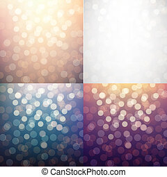 Blurred Backgrounds Set, With Gradient Mesh, Vector...
