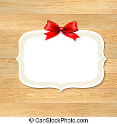 Wood Wall With Red Bow, With Gradient Mesh, Vector...