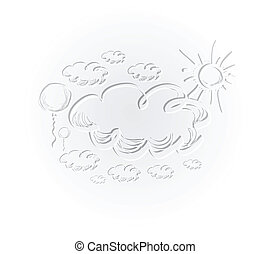Hand drawing sky with clouds and sun.