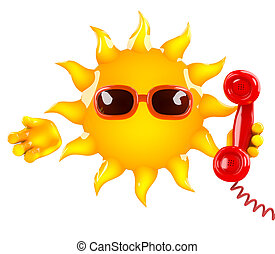 3d Sun chat - 3d render of the sun holding a telephone...