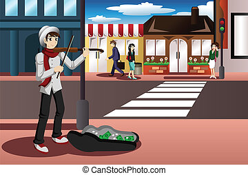 Street musician - A vector illustration of street musician...