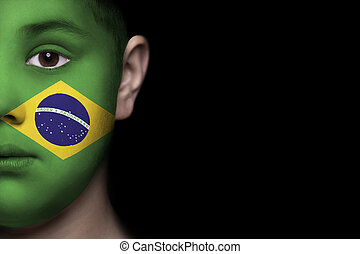 Human face painted with flag Brasil - Human face painted...