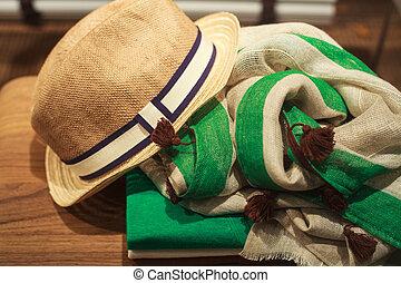 hombre, sombrero, bufanda, ropa