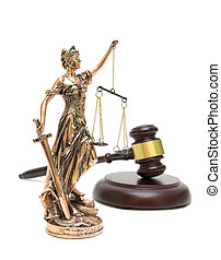 statue of justice and gavel isolated on white background....