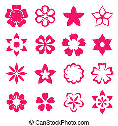 Illustration flowers icons, spring and valentines day,...