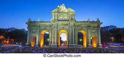 View of famous Puerta de Alcala at sunset, Madrid, Spain