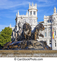 Famous Cibeles Palace and fountain, Madrid, Spain