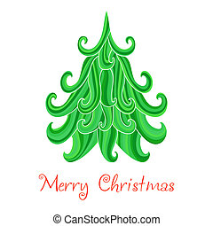 Christmas tree, Marry Christmas card with snowflakes...