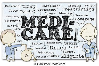 Medicare on Paper with Clipping Path - Drawing of Medicare...