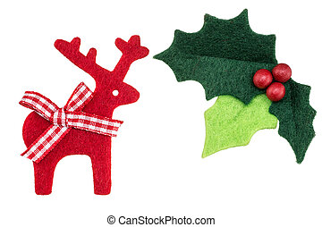 Christmas holly with red berries and reindeer isolated a...
