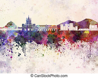 Naples skyline in watercolor background