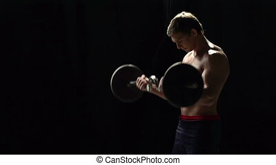 Barbell Push - Sideview of athlete working out his back...