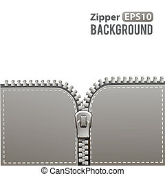 Silver zipper vector background - Silver steel metal zipper...