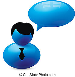 Icon of person with speech bubble Vector illustration