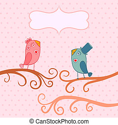 Beautiful birds in love.Illustration of cartoon birds on branch, two romantic birds sitting on the tree. Valentine's day card with place for your text.