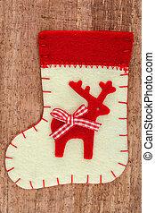 navidad, decoraciones, calcetín