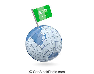 Globe with flag of saudi arabia - Blue globe with flag of...
