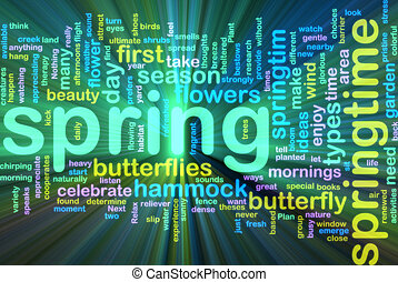Spring wordcloud glowing - Word cloud concept illustration...