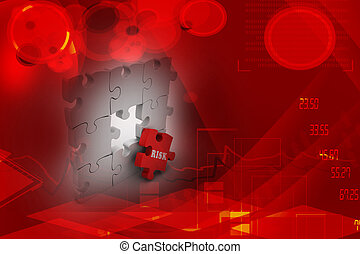 Finance concept: Risk on red puzzle piece
