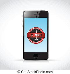 phone last minute app seal illustration