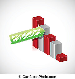 cost reduction business graph illustration design over a...