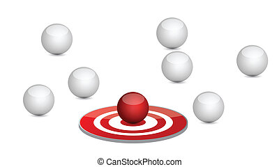 spheres around a target. illustration design