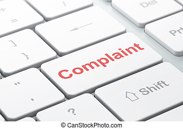 Law concept: Complaint on computer keyboard background - Law...