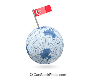 Globe with flag of singapore - Blue globe with flag of...