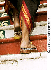 devotees leg - Close up of a devotees leg at Thaipusam event...