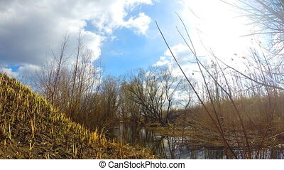 Time-lapse of  Blue Sky and River Flow. Countryside.