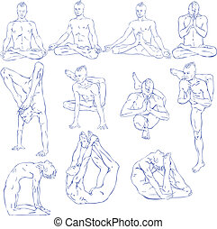 Yoga: Meditation - Hand drawn illustration about the...
