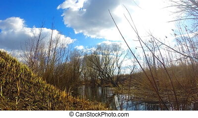 Timelapse of Blue Sky and River Flow with Zoom Effect. Sunny...